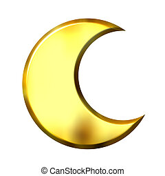 3D Golden Crescent Moon - 3d golden crescent moon isolated...
