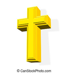 3D golden cross - 3D rendered golden cross symbol over white...