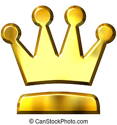 3d golden crown isolated in white