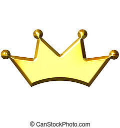 3D Golden Crown - 3d golden crown isolated in white
