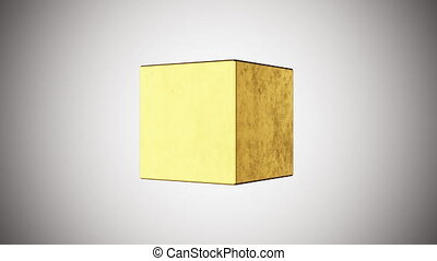 3D golden cube, 4K computer generated animation