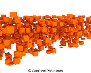 3d golden cubes