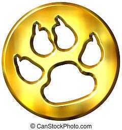 3D Golden Dog Print