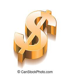 3D Golden Dollar Sign