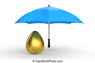 3d golden egg under umbrella