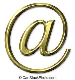 3D Golden Email Symbol