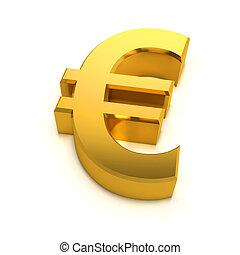 3d Golden Euro symbol