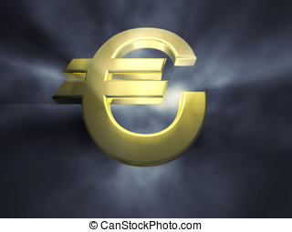 3d golden euro symbol on a dark misty background , dramatic lighting