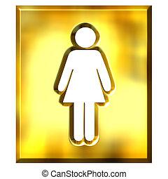 3D Golden Female Sign