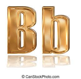 3d golden font, letter B