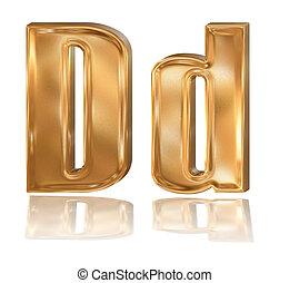 3d golden font, letter D