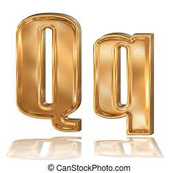 3d golden font, letter Q - 3d golden patterned font with ...