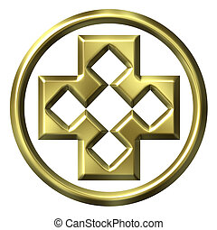 3D Golden Framed Cross