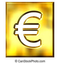 3D Golden Framed Euro Sign
