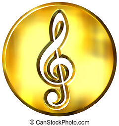 3D Golden Framed Treble Clef