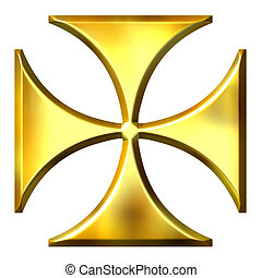 3D Golden German Cross