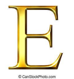 3D Golden Greek Letter Epsilon