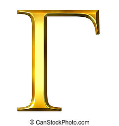 3D Golden Greek Letter Gamma