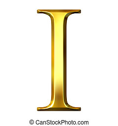 3D Golden Greek Letter Iota