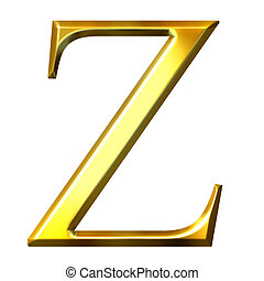 3D Golden Greek Letter Zeta