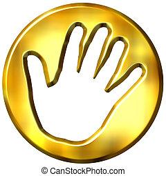 3D Golden Hand Print