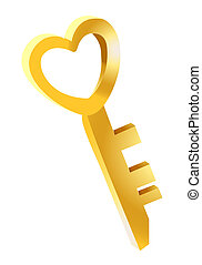 3d golden heart key