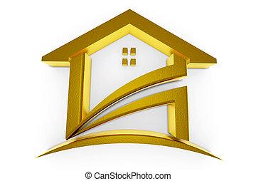 3D Golden house. Real Estate concept