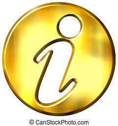 3D Golden Information Sign