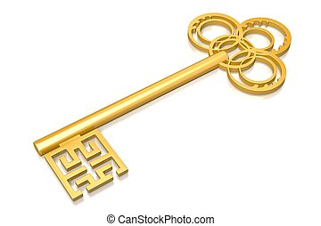 3D golden key on white background