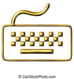 3D Golden Keyboard
