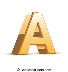 3d golden letter A