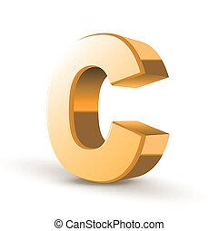 3d golden letter C