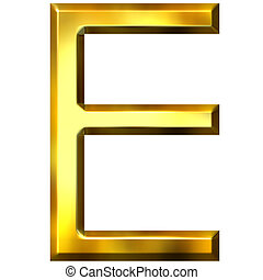 3D Golden Letter E - 3d golden letter E isolated in white