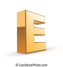 3d golden letter E