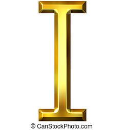 3D Golden Letter I