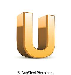 3d golden letter U