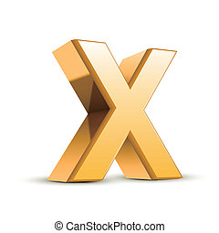 3d golden letter X isolated white background