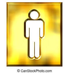 3D Golden Male Sign