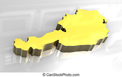 3d golden map of austria
