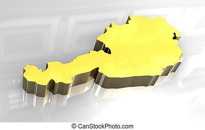 3d golden map of austria