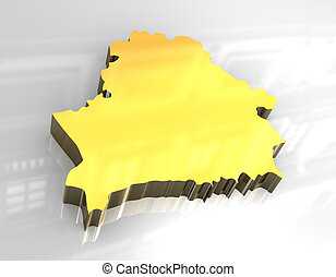 3d golden map of belarus