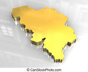 3d golden map of belgium
