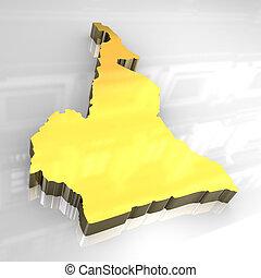 3d golden map of cameroon