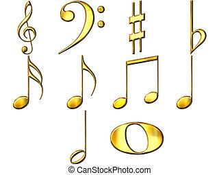 3D Golden Music Notes