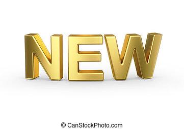 3D golden NEW sign on white