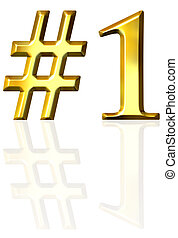 3d golden number one with reflection isolated in white