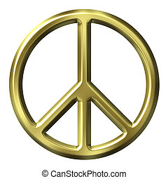 3D Golden Peace Symbol