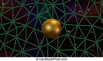 3d golden planet rotating on network on space background...
