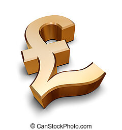 3D golden Pound symbol - A golden Sterling Pound symbol ...