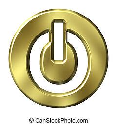 3D Golden Power Button
